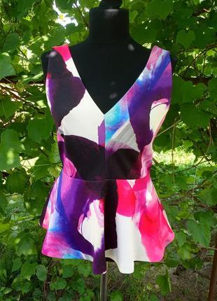 Яркая плотная блуза на замке h&m