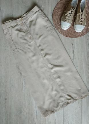 Бежевая длинная юбка прямая большой размер 26