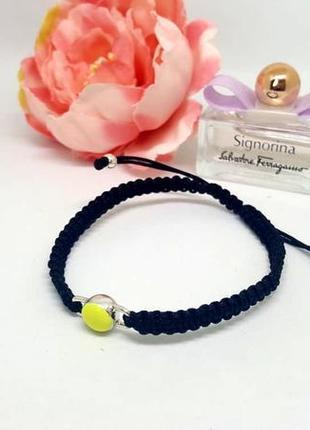 Плетенный браслет фенечка с желтой бусиной эмаль от pilgrim дания