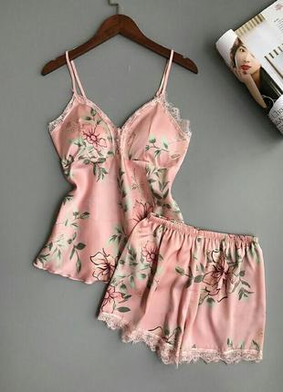 Шелковая пижама женская атласная розовая комплект для сна шортики маечка с кружевом