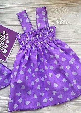 Фиолетовый хлопковый сарафан платье на девочку в сердечки. есть размеры 3-6 лет