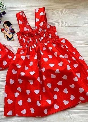 Красный хлопковый сарафан платье на девочку в сердечки. есть размеры 3-6 лет