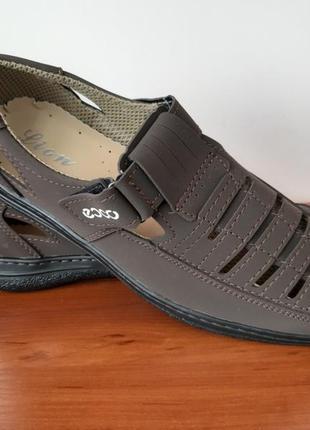 Мужские летние туфли коричневые2 фото