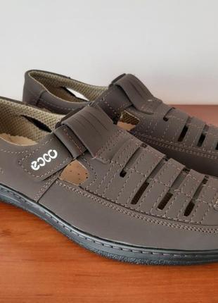 Мужские летние туфли коричневые7 фото