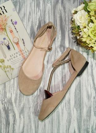 Warehouse. замша. красивые открытые туфли на низком ходу