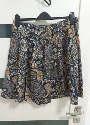 Хлопковая юбка-клеш в цветочный принт