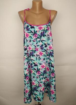 Пляжное платье туника сарафан мятного цвета в цветы uk 14/42/l