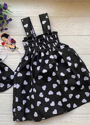 Чёрный хлопковый сарафан платье на девочку в сердечки. есть размеры 3-6 лет