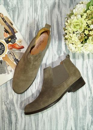 Gabor. замша. фирменные ботинки, челси на низком ходу