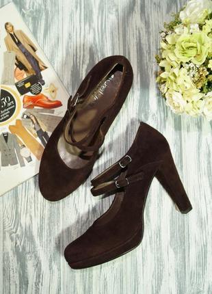 Evaluna. италия. замша. красивые базовые туфли на устойчивом каблуке