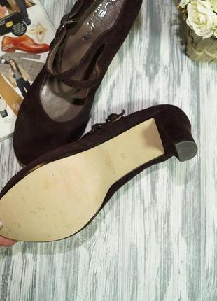 Evaluna. италия. замша. красивые базовые туфли на устойчивом каблуке6 фото