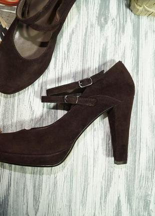 Evaluna. италия. замша. красивые базовые туфли на устойчивом каблуке5 фото