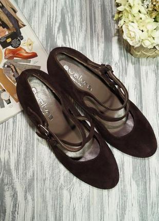 Evaluna. италия. замша. красивые базовые туфли на устойчивом каблуке7 фото