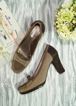 Geox. оригинал. замша. красивые базовые туфли, лоферы на устойчивом каблуке