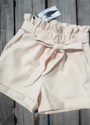 Стильные короткие шорты пояс рюша 42,44,46,48 --4 цвета