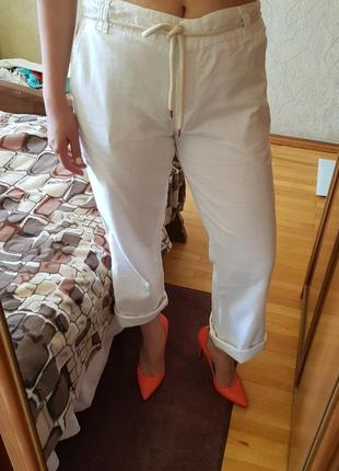 Брендовые льняные брюки -кюлоты
