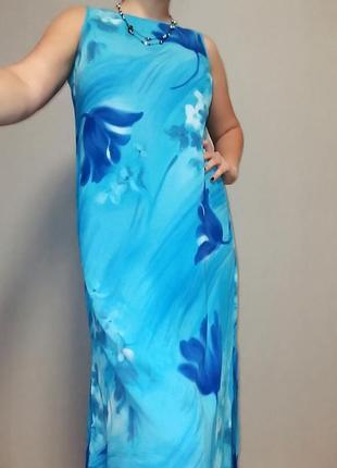 Платье из вискозы голубого цвета на 50-52 размер