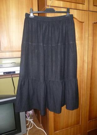 Классная фирменная летняя льняная юбка,пояс-резинка