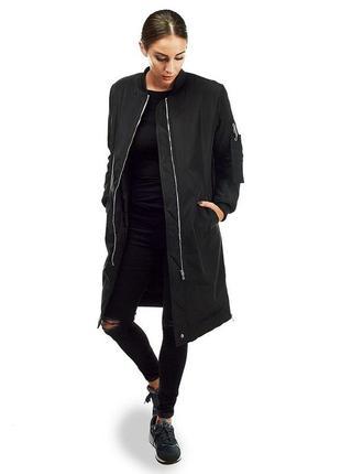 Длинный чёрный бомбер , куртка удлинённая