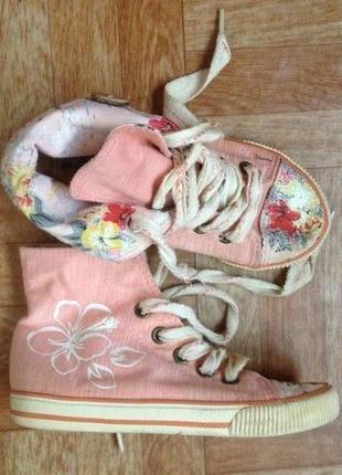 Кеды трансформер , розово-персиковые высокие кеды для вашей стильной красотки:)