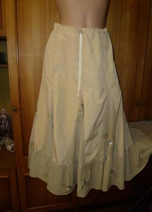 Очень красивая женственная летняя юбка легкая шелк+шифон с вышивкой