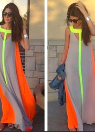 Необычное яркое модное платье-туника в пол