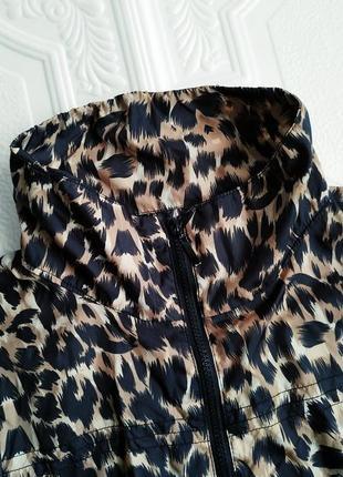 Летняя легкая ветровка оверсайз, леопардовый принт3 фото