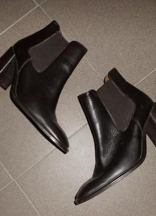 Кожаные ботинки челси на толстом каблуке