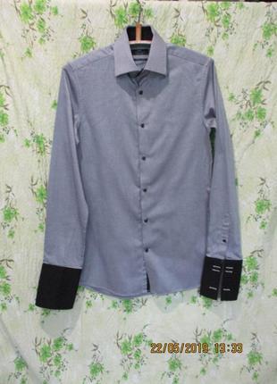 Красивая приталенная рубашка/фактурная/длинный рукав под запонки