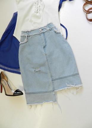 💣летняя джинсовая рваная юбка10 фото
