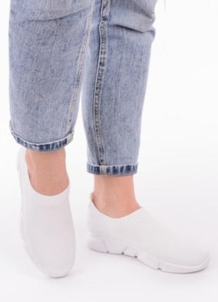 Белые летние кроссовки в сеточку кеды мокасины без шнуровки