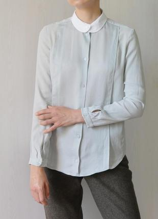 Шелковая блуза рубашка carven из натурального шёлка