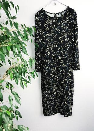 Цветочное платье платье  легкий трикотаж с разрезом платье 3/4 рукав