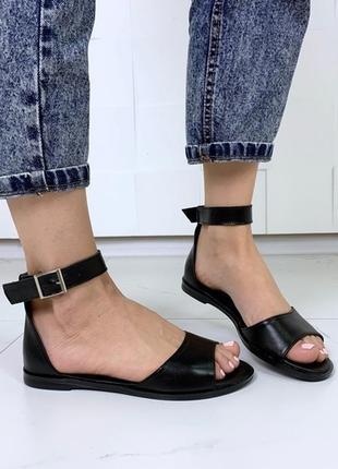 Чёрные кожаные босоножки на низком ходу,босоножки в разных расцветках🌈