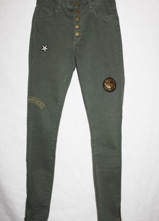 Крутые скинни джинсы стрейч высокая талия на пуговицах yes or no 36-38р