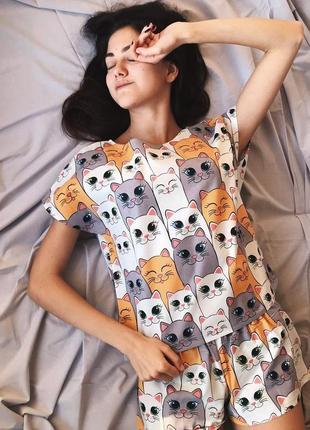 Пижама хлопковая с котами1 фото