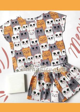 Пижама хлопковая с котами3 фото
