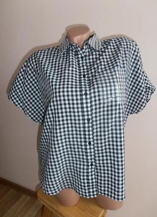 Брендовая блуза в клетку guess