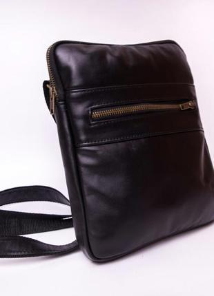 Кожаная мужская сумка черная планшет