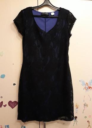 Гипюровое платье мини цвета электрик