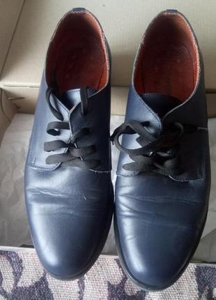 Оксфорды синие туфли на шнуровке кожа кожаные классические на чёрной подошве
