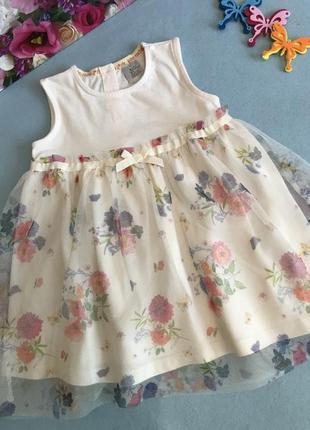Милейшее нарядное праздничное платье в цветы 9-12 мес будет и дольше