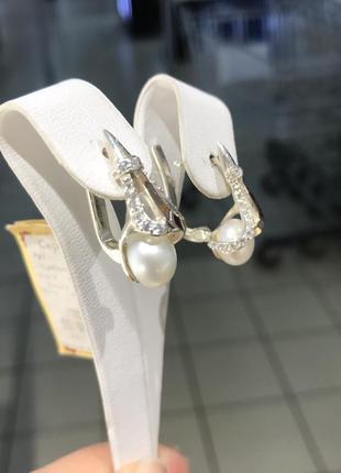 Серьги серебряные с золотыми напайками и жемчугом, цирконием белым