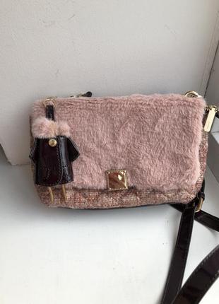 Сумка клатч parfois мех твид розовая сумочка