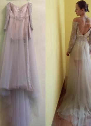 Неймовірно красиве плаття беж+попіл розмір s, маленька м