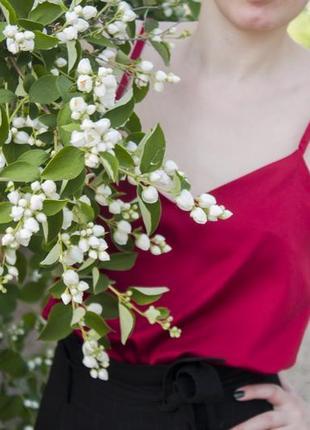 Стильный топ в бельевом стиле, шелковая майка базовая2 фото
