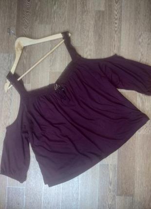 Бордовая блуза из натурального хлопка со спущенными плечами