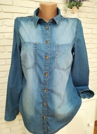 Тонкая джинсовая рубашка,р.s