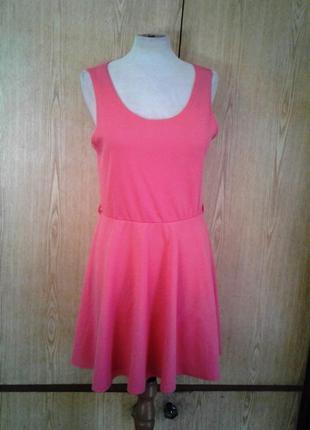 Коралловый сарафан - платье, м - l.