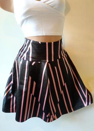 Атласная юбка солнце в полоску клеш шелковая короткая с завышенной талией высокая